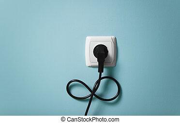 electrical sodronykötél, bele, a, konnektor, alatt, végtelenség, jelkép.