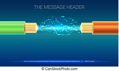 Electrical spark between two insulated, stranded copper wires. Electric cable with sparks. Horizontal design for presentation, posters, cover art, banners or advertising. 3D illustration.