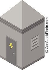 Electrical station box icon, isometric style