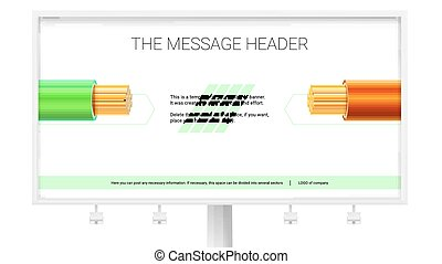 Electrical stranded copper wires. Electric cables in the colored braid on white background. Print design for horizontal Billboard. 3D illustration