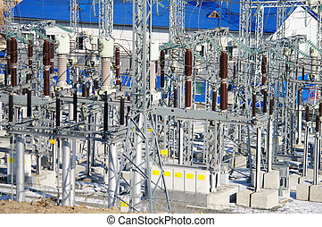 electrical transformers sub-station on the blue background