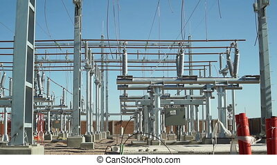 Electrical Substation Construction - Static shot of an...