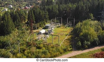 Electrical Substation near Yaremche, Ukraine, from a Drone ...