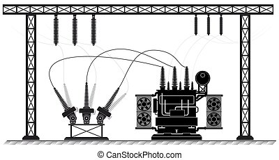 Electrical substation. The high-voltage transformer and switch. Black white illustration. electricity supply.
