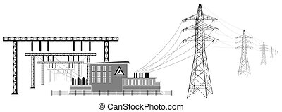 Electrical substation with high voltage lines. Transformers and substation buildings. Transmission and reduction of electrical energy.
