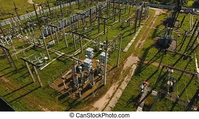 Electrical substation,power station. Aerial view