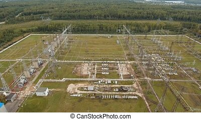 Electrical substation,power station. Aerial view - Aerial...