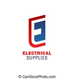 Electrical supplies vector letter E icon