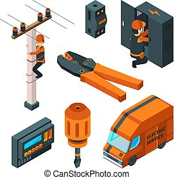 Electrical systems 3d. Electricity box switch electrician safety worker with power tools vector isometric