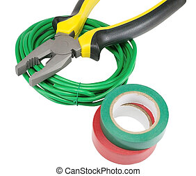 Electrical tools and cables on white background
