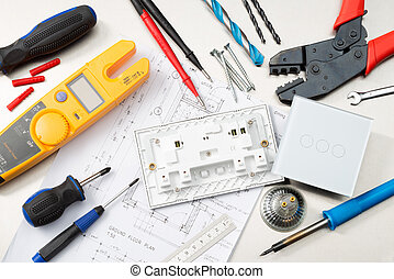 Electrical tools and components - Various electrician tools ...