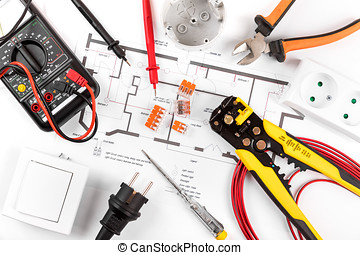 electrical tools and equipment on circuit diagram. top view