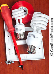 Electrical tools - electrical tools, bulbs, tape, light...