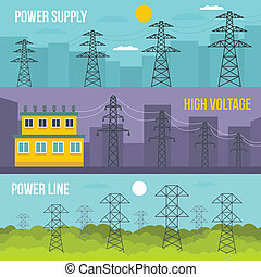 Electrical tower banner horizontal set, flat style