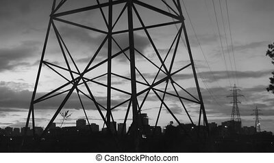 Electrical tower. Black and white.