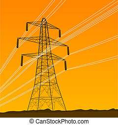 Electrical Tower - High Voltage Electricity Tower...
