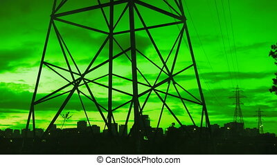 Electrical tower. Green energy.
