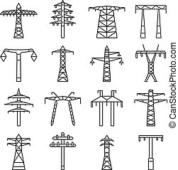 Electrical tower icon set, outline style - Electrical tower...