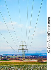 electrical tower in landscape