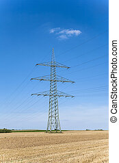 electrical tower in rural landscape