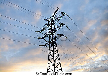 Electrical tower on a beautiful blue sky background