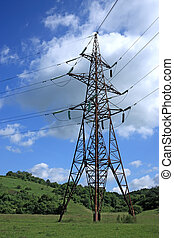 Electrical tower - Big electrical tower on meadow
