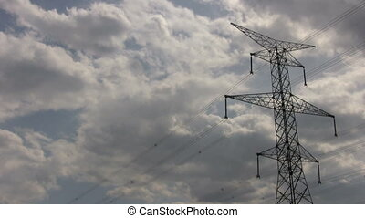 electrical tower - footage of single electrical tower with...