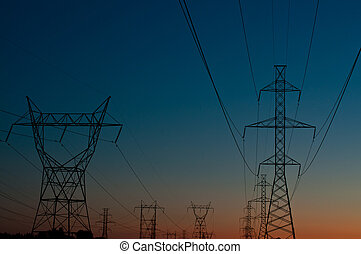 Electrical Towers at Sunset