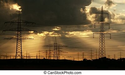 Electrical Towers Cloud Timelapse - Video footage of a Cloud...