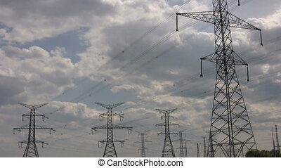 electrical towers - footage of electrical tower with clouds