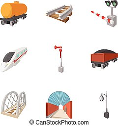 Electrical train icons set, cartoon style