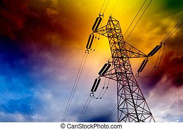 Electrical transmission tower landscape. Energy concept