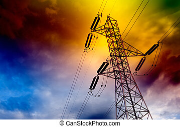 Electrical transmission tower landscape.Energy concept