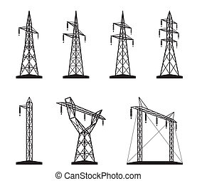 Electrical transmission tower types in perspective - vector illustration