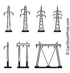 Electrical transmission tower types - vector illustration