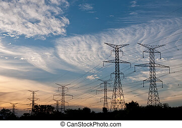 Electrical Transmission Towers (Electricity Pylons) at Dusk