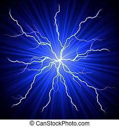 electrical white blue lightnings fireball over dark background