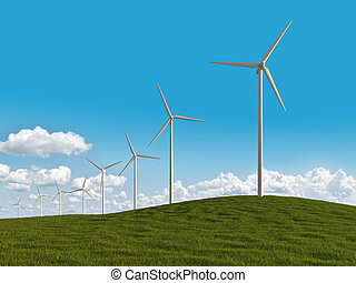 electrical windmills in a meadow - row of windmills in a...