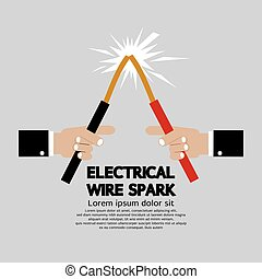 Electrical Wire Spark Vector Illustration