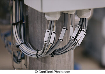 Electrical wires are connected to the control center.