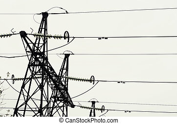 Electrical wires on gray sky background