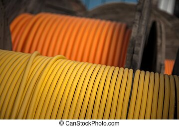 Electrical wires on wooden spool closeup