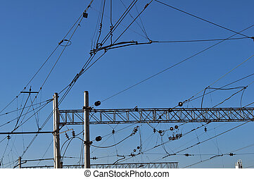 Electrical wires on a railway station of Simferopol in the...