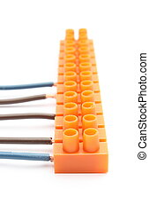 Electrical wires with terminal blocks on white background - ...
