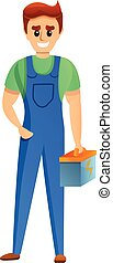 Electrical worker icon, cartoon style