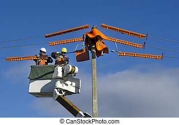 Electrical Workers Repairing Power Pole - MANGONUI, NZ - ...