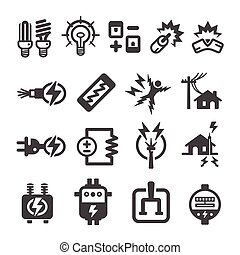 electric,electronic icon set,vector illustration