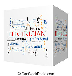 Electrician 3D cube Word Cloud Concept with great terms such...