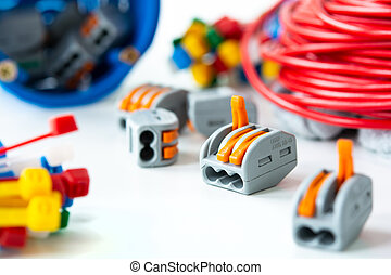 electrician and equipment on white background