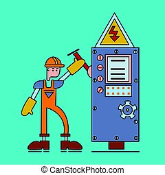 Electrician at work, man in working uniform turns on the switch of power voltage. Electric services. Vector flat illustration.